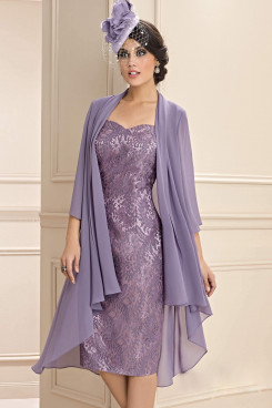 2 PC Purple Lace Women's Outfits Mother of the Bride Short Dress with Jacket wps-243