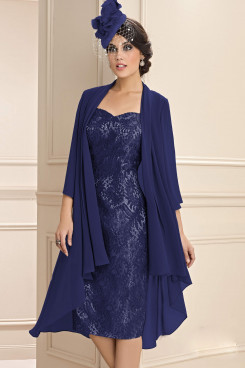 2PC Dark Navy Women's Outfits Lace Mother of the bride Dress with Jacket wps-244