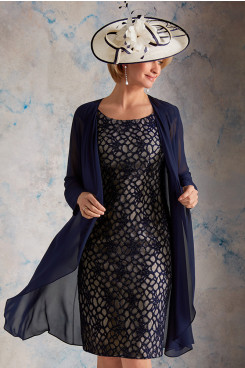2PC Lace Navy Blue Mother of the Bride With Jacket wps-248