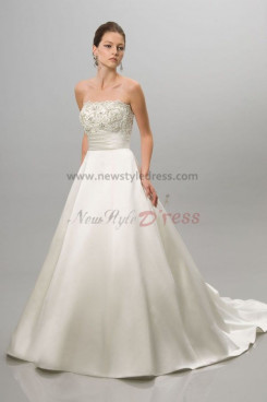 A-Line Strapless Lace Wraps Chest Appliques Fashion wedding dress nw-0292