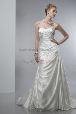 A-Line Sweetheart Sweep Train Discount wedding dress nw-0290