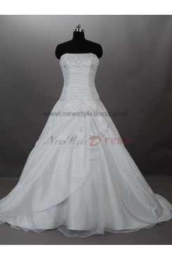 Appliques Chest Appliques Zipper-Up Satin Off the Shoulder A-Line Bow Elegant Pleat wedding dresses nw-0014
