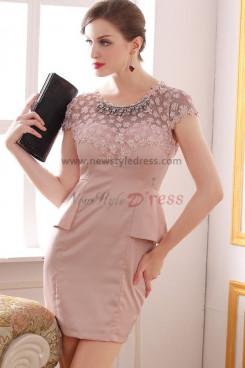 Appliques Above Knee Pink Jewel Sheath Elegant prom dress nm-0232