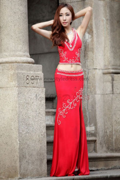 Appliques red Halter Elegant Prom Dresses with Split Front np-0105