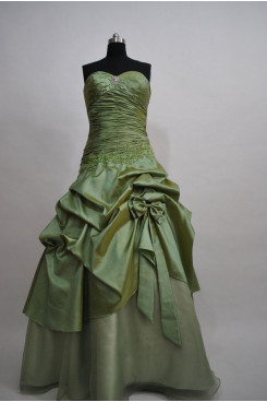 Army Green Taffeta Sheath Gorgeous Tiered Ruffles Pleat Chest with Crystal Hand-beading Evening dresses np-0081
