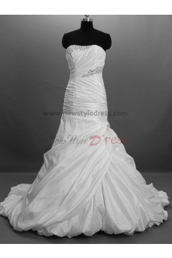 Asymmetry Chest Appliques Draped Chest with beading Chapel Train Princess Satin Crystal Lace Up Wedding dresses nw-0028
