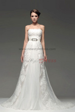 Jacket With sleeve lace Chapel Train Crystal Belt Wedding Dresses nw-0217