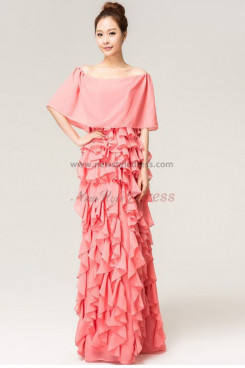 Bateau Pink Chiffon Tiered Unique Elegant Prom Dresses np-0130