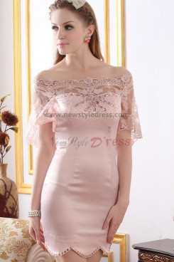 Bateau Sheath Satin Pearl Pink Elegant Cocktail dresses nm-0217