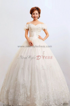 Bateau puff sleeve Ball Gown lace Embroidery Wedding Dresses nw-0084