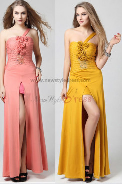 Best Sale slits One Shoulder flower Chest With beading khaki/Pink Prom Dress np-0359