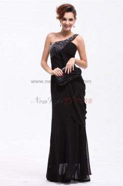 Black One Shoulder fashion Chiffon Mother Of the Dresses np-0199