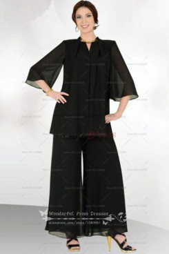 Black cheap Loose Two Picec mother of the dress pants suits with Short Sleeves nmo-026