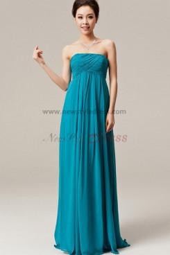 Blue Chiffon Strapless Empire prom dress under 100 np-0135