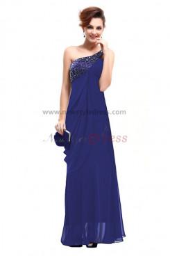 Blue One Shoulder Elegant Chiffon Mother Of the Dresses np-0202