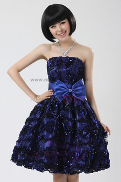 Blue Overall Handmade flower Waist with a Bow Above Knee Homecoming Dresses nm-0038