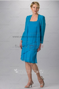 Blue chiffon Knee-Length mother of the bride dress for the beach wedding cms-064