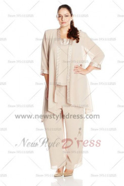 Champagne Loose Three Sets Elastic pants Mother Of The Bride Pants Suit nmo-118