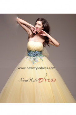 Champagne Strapless ball gown under 200 Quinceanera Dresses Sashes with flower nq-015