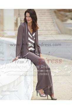 Cheap Fashion Criss-Cross Chiffon Three Piece mother of the bride pants suits nmo-006