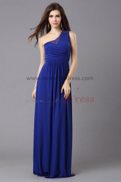 Cheap Royal Blue Oblique band Chiffon Chest With beading under 100 prom dresses np-0331