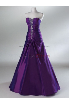 Chest With Crystal Beading and Chest With Pleats Satin A-Line Purple and Navy Evening Dresses np-0094