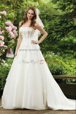 Chest With Petal a line Multilayer cheap Organza Best Sale wedding dress nw-0265