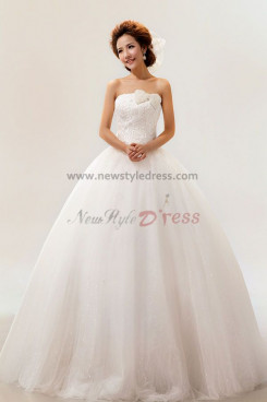 Strapless Ball Gown Wedding Dresses Chest With a pearl bow nw-0071