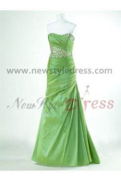 Chest with beading and Pleat Floor-Length Green and Watermelon Red Sheath Evening dresses np-0037