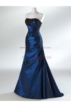 Chest with beading and a bow Brush Train Draped Sheath Blue Rose Red Evening dresses np-0026