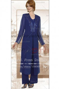 Chiffon Royal Blue mother of the bride pants suits with classic long jacket nmo-050