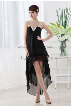 Chiffon Sweetheart Glamorous Black Tiered Asymmetry Homecoming Dresses nm-0054