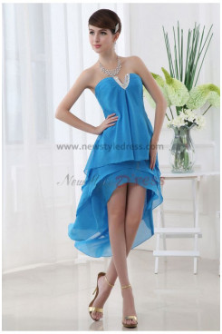 Chiffon Sweetheart Glamorous BlueWhite Tiered Asymmetry Homecoming Dresses nm-0069