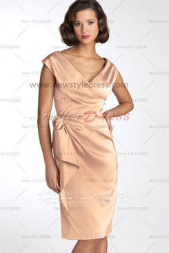 Cowl Neck Champagne Charmeuse Informal short mother's dress under 100 cms-056