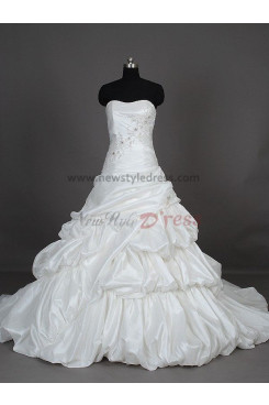 Crystal Chest Appliques Tiered Hand-beading Court Train Ball Gown Modern Glamorous Strapless Satin Wedding dresses nw-0024