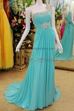 Crystal Sequins Chiffon One Shoulder Elegant Court Train Evening Dresses np-0115