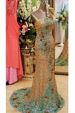 Crystal Sequins Handmade flower Luxurious One Shoulder golden Court Train Handmade flower Prom Dresses np-0120