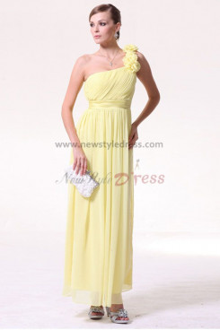 Daffodil Chiffon Ankle-Length One Shoulder prom dresses np-0191