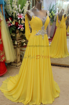 Daffodil Chiffon Brush Train Backless Empire prom Dresses with shoulder Crystal np-0117