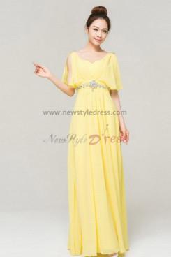 Daffodil Chiffon Floor-Length Gorgeous Crystal Backless prom dress np-0141
