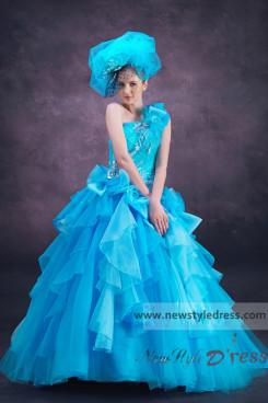 Discount Ocean blue One Shoulder Multilayer Quinceanera Dresses nq-024