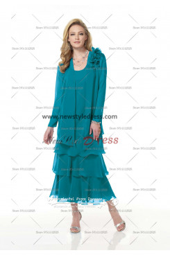 Elegant Chiffon Layered Nice Turquoise Mid-Calf Mother of the Bride Dress cms-054