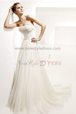 Elegant Chiffon Strapless Empire Summer Beach Wedding Dress nw-0284