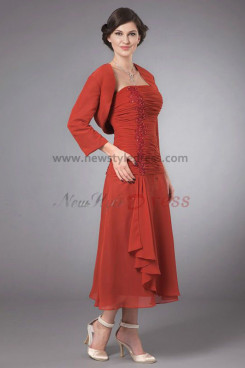 Elegant Mid-Calf Glamorous Mother's suit dress cms-022