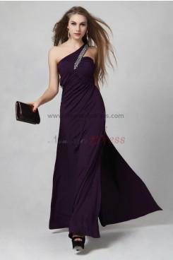 Elegant Oblique band Side slits purple/Pink High-end prom dress np-0303