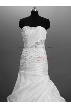 Embroidery Beading Lace Up Satin Sheath SweepBrush Train wedding dresses nw-0017