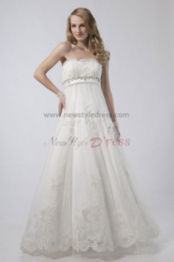 Empire Chest Appliques Glamorous Discount wedding dress nw-0294