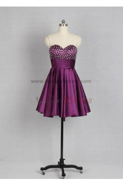 Fuchsia Chest with beading Lace Up Satin Pleat Party dresses nm-0007