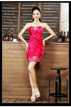 Package buttocks Tiered Glass Drill short dress nm-0280
