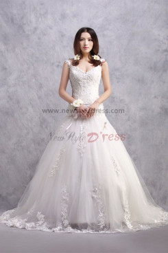 Glamorous V-neck ball gown Lace Up Wedding Dresses Sweep Train nw-0175